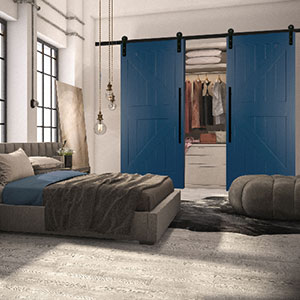 Interior barn door painted blue